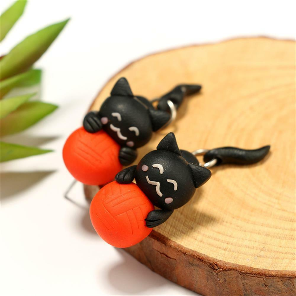 f3594918f Details about 1 Pair Handmade Soft Polymer Clay Cat Ball Earrings Animal  Piercing Ear Stud New