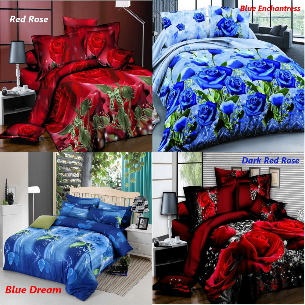 4pcs Printed 3d Bedding Set Queen Size Quilt Cover Bed