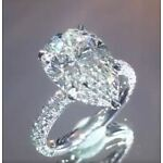 5 Ct 14K White Gold Hollywood Star Engagement Pear Cut Diamond Ring & Certified
