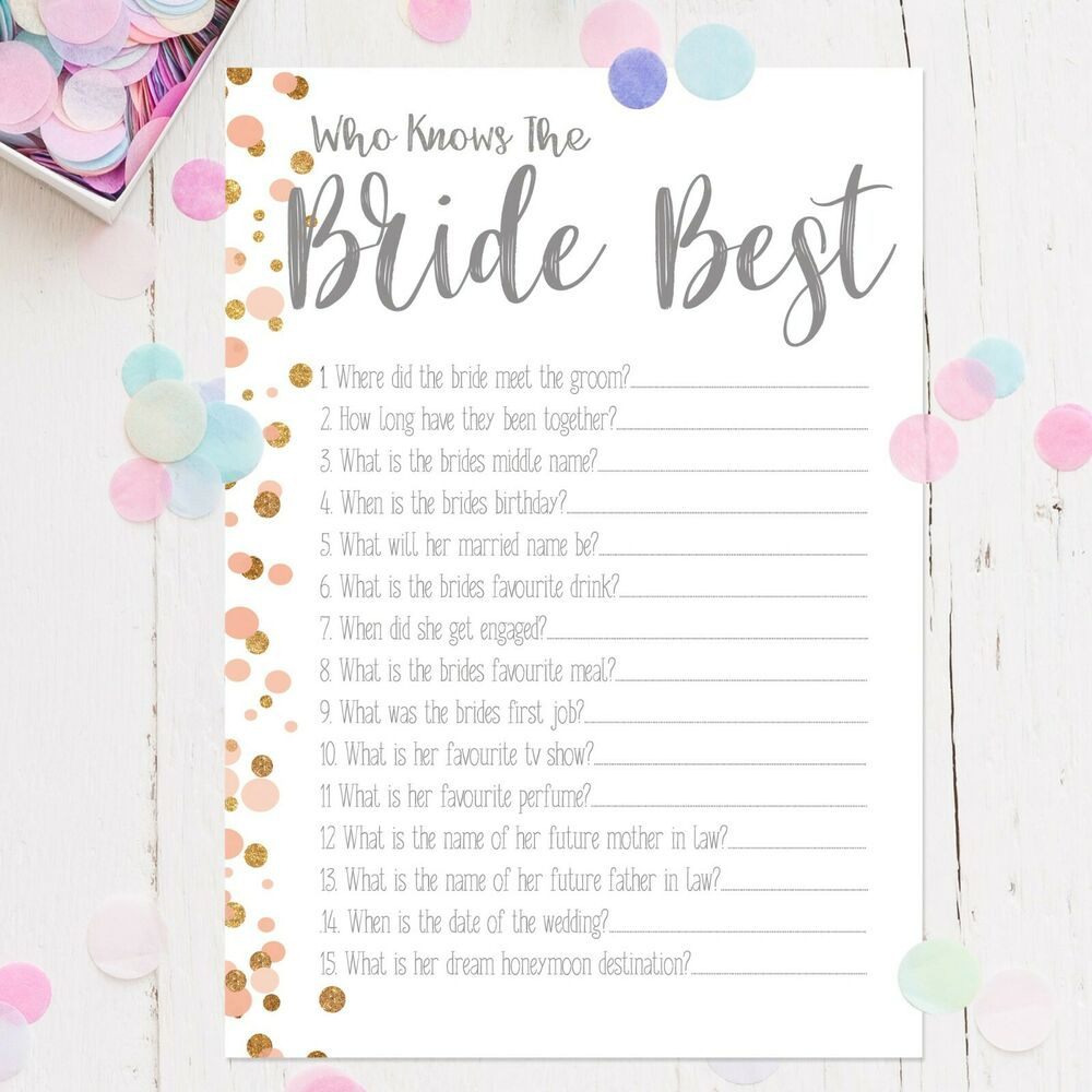 Who Knows The Bride Best Polka Dot Hen Party Games Bride