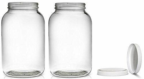 2 pack wide mouth 1 gallon clear glass jar white lid with liner seal for 705332995863 ebay. Black Bedroom Furniture Sets. Home Design Ideas