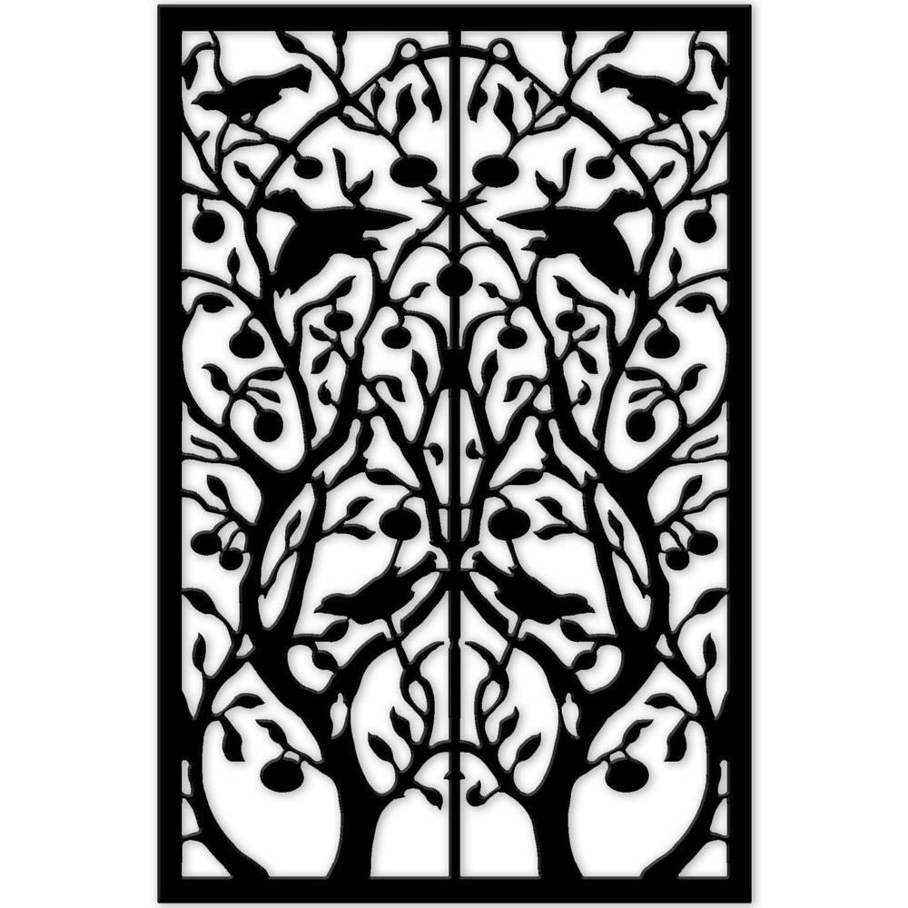 Vinyl Decor Panel Lattice Black Tree Of Life Pattern