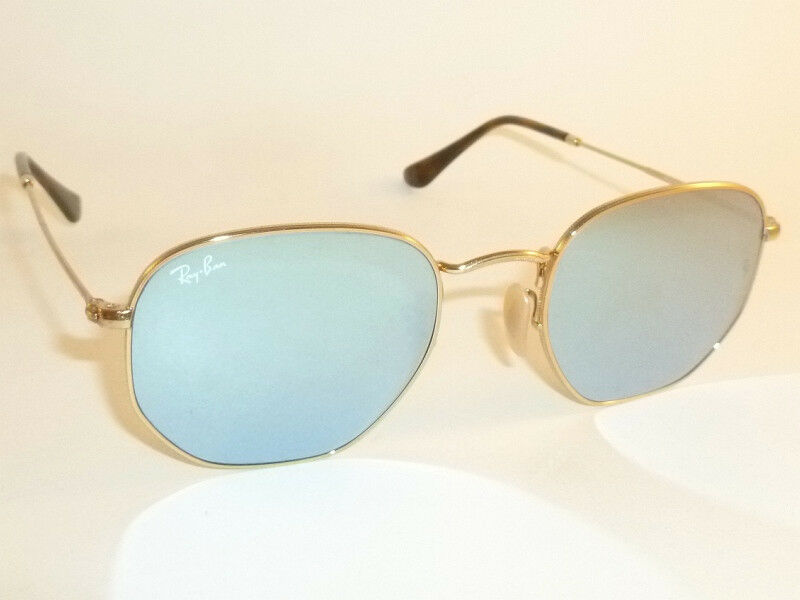 16b7979969 Details about RAY BAN Hexagonal Flat Sunglasses Gold Frame RB 3548N 001 30  Silver Mirror 51mm