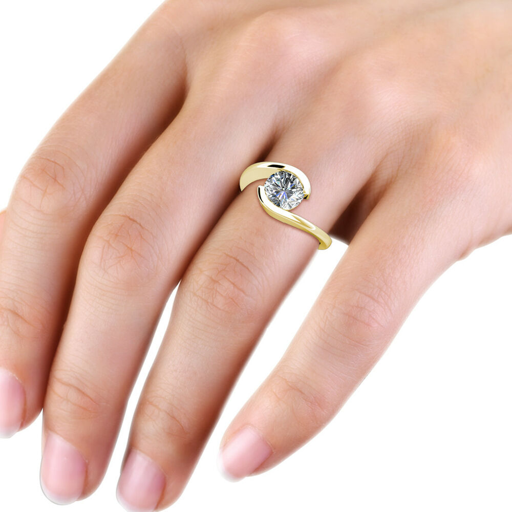 Forever One Round Moissanite DEF 14K Yellow Gold Tension Setting ...