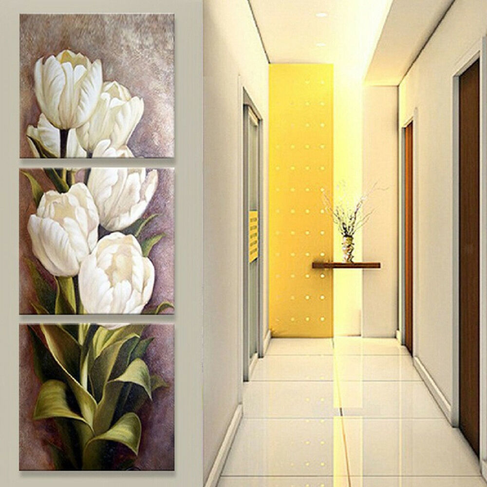 3 Pcs Prints White Tulip Flower Painting On Canvas Wall Hanging ...