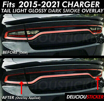 Fits 2015-2020 CHARGER Tail Light SMOKE Rear PreCut Tint Overlay Vinyl Smoked