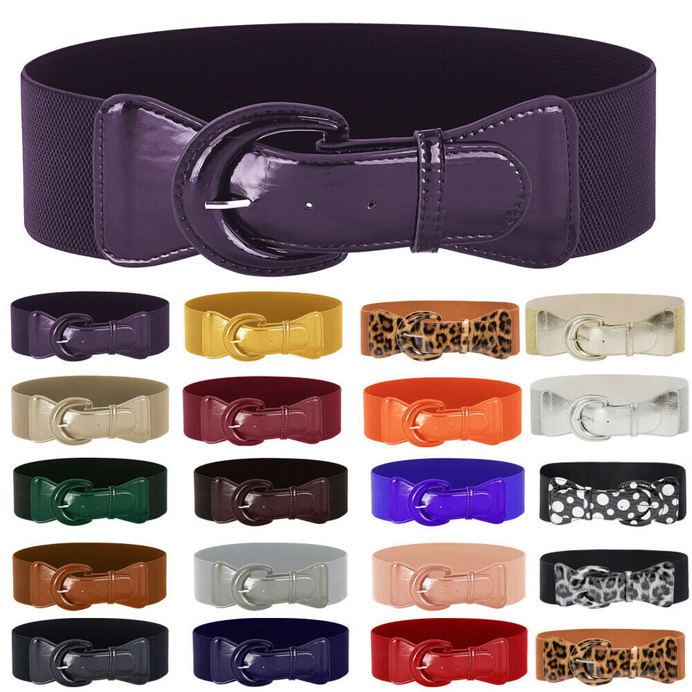 fcea3d98bb8 Details about Ladies Girls Women Waist Elasticated Wide Fashion Buckle Belts  Belt Elastic