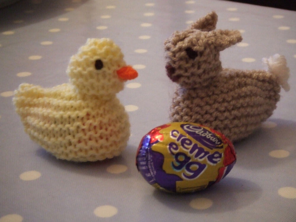 Knitting Easter Chicks : Knitted easter chick and bunny chocolate creme egg