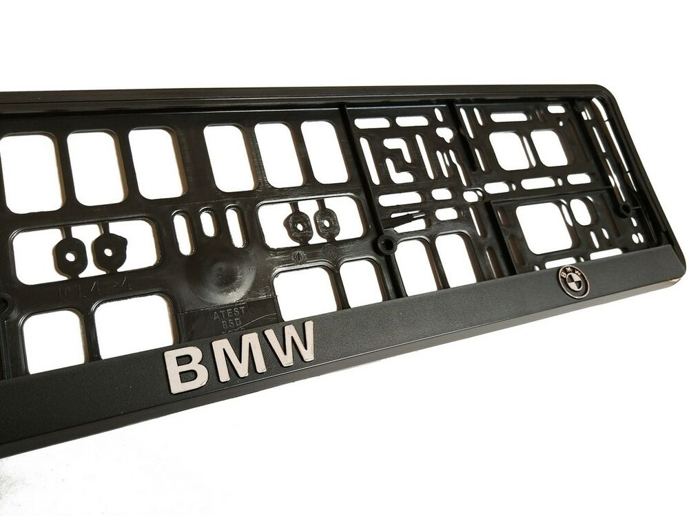 Black 3d Bmw European Euro License Number Plate Holder