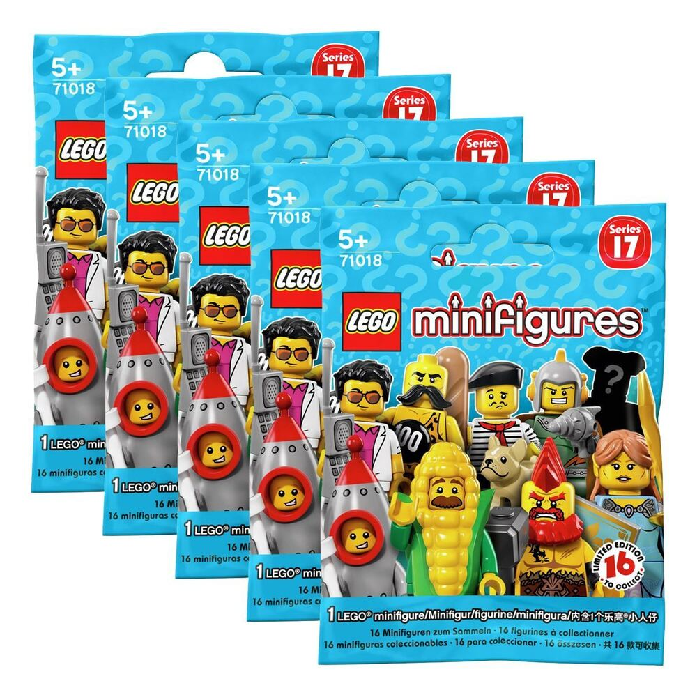 New 5 Packs Lego Series 17 Minifigure Blind Bags Mystery