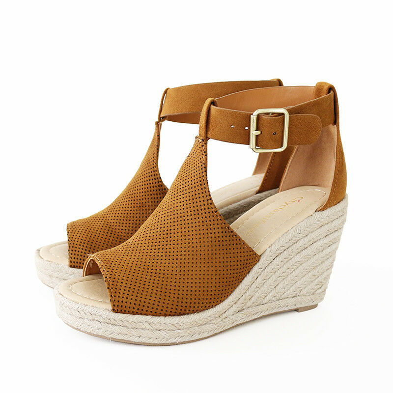 6afa88f40a8 Details about Ankle Strap Perforated Faux Suede Espadrille Wedge Platform  Sandal Tan