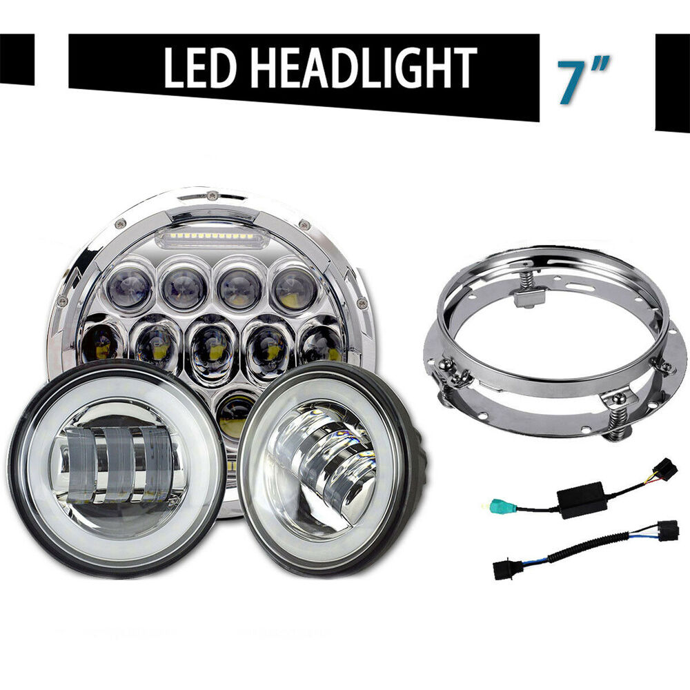 7 chrome led headlight for suzuki intruder volusia vs 700. Black Bedroom Furniture Sets. Home Design Ideas