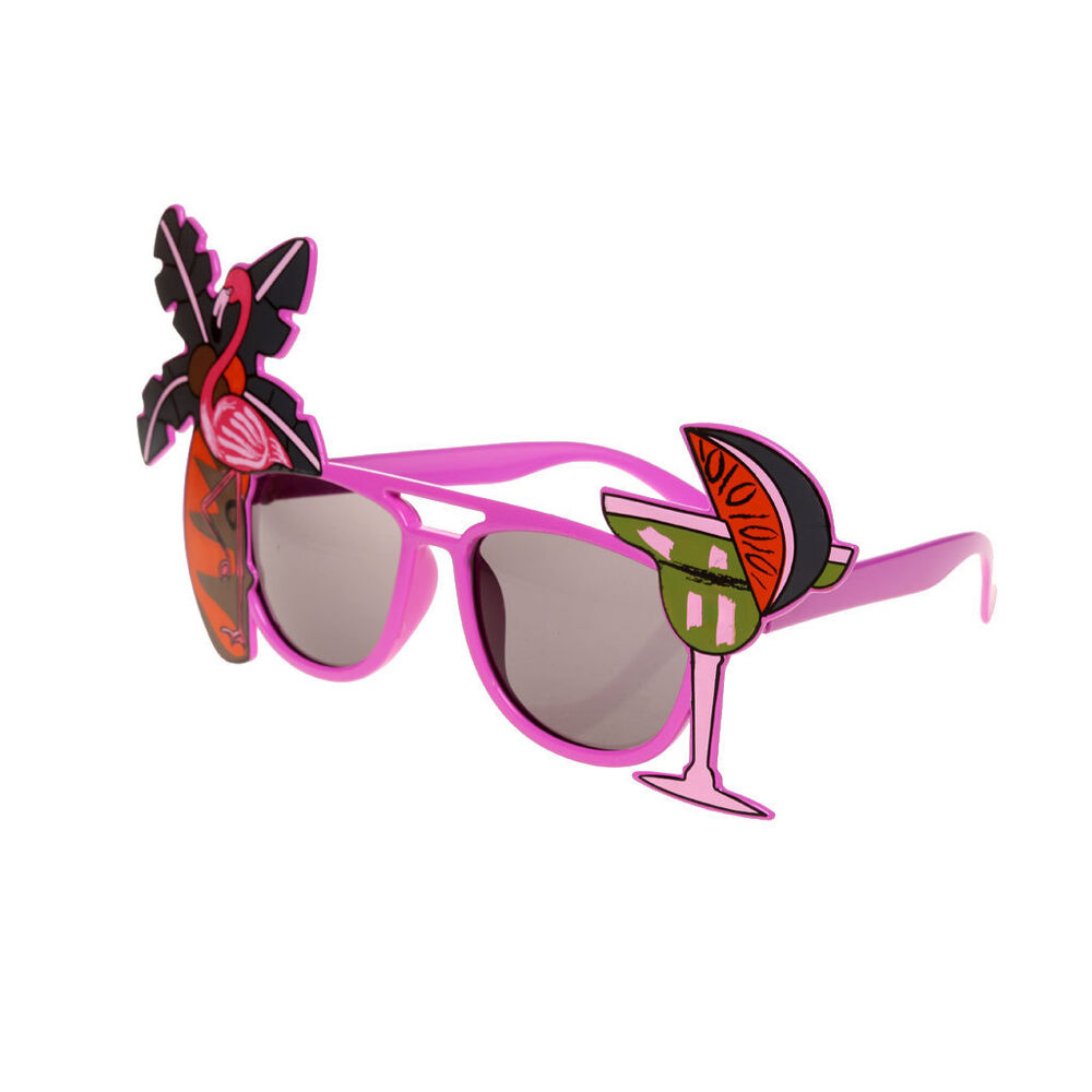 916f7c2566 Details about Flamingo Cocktail Palm Tree Sunglasses Glasses Novelty  Tropical Beach Party