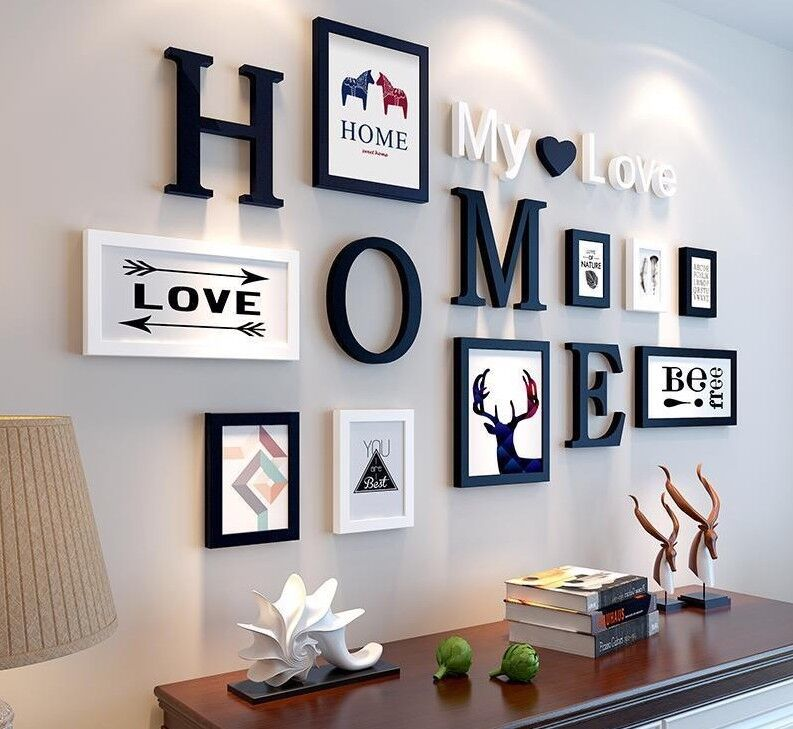 Love Wall Decoration Photo Frame Elegant Modern Multi Frames Wooden ...