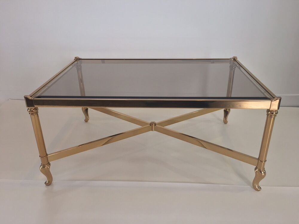 Vintage Solmet Brass Coffee Table Made In Italy Base Only NO Glass