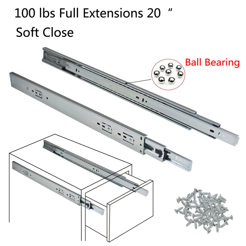 Full Extension 20 Quot Soft Close Ball Bearing Drawer Slides