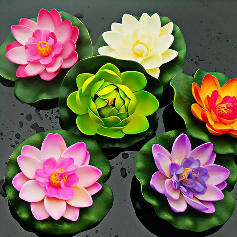 Artificial Lotus Flower Lily Pad Floating Fish Pond Decoration