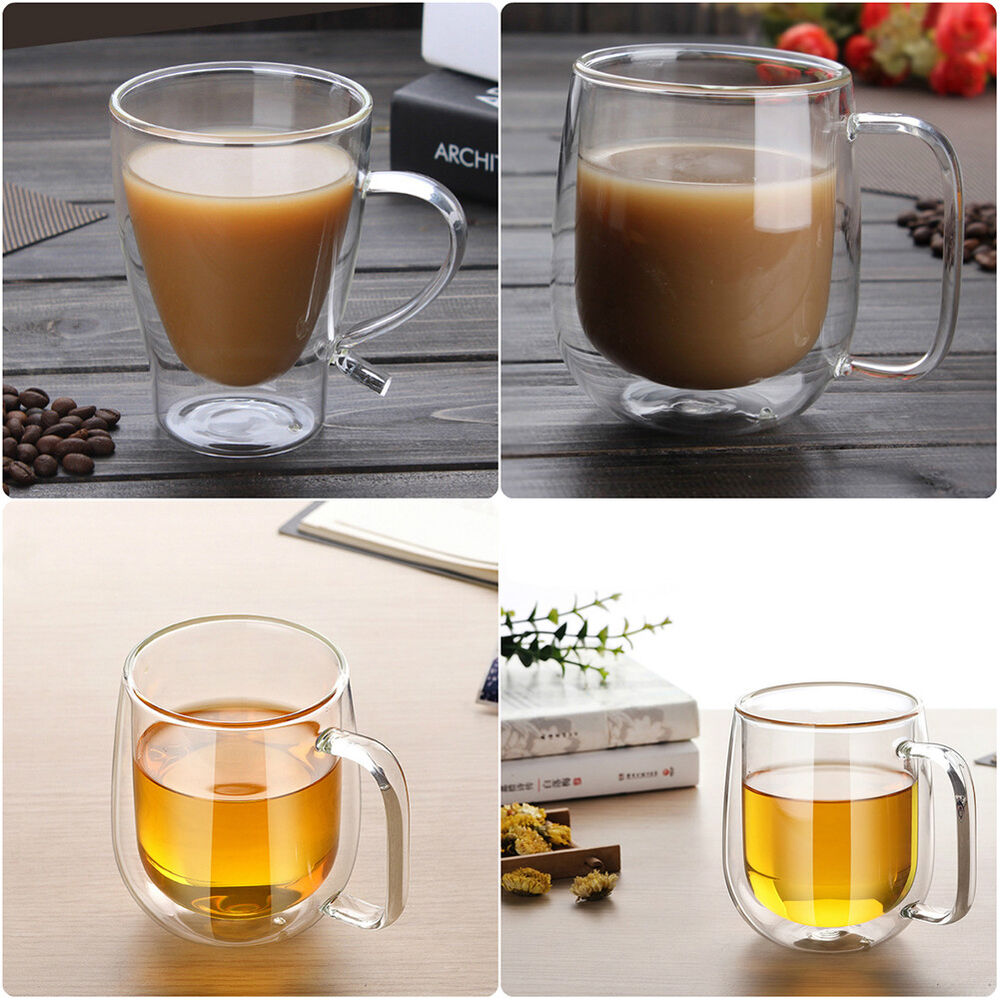 Insulated Double Walled Glasses Coffee Mugs With Handle Tea Water