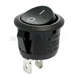 SPST KCD1 On-Off Round Mini Rocker Switch w/Black Actuator 6A/250VAC USA SELLER!