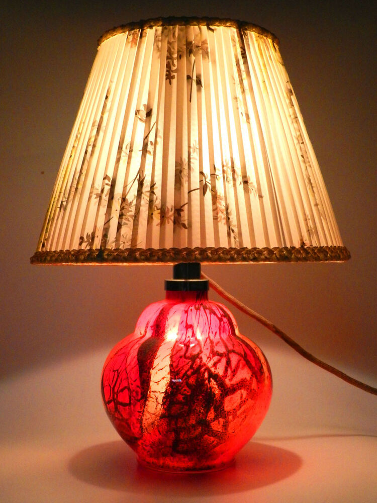 wmf ikora glas lampe tischlampe mit schirm art deco glass lamp 4 ebay. Black Bedroom Furniture Sets. Home Design Ideas