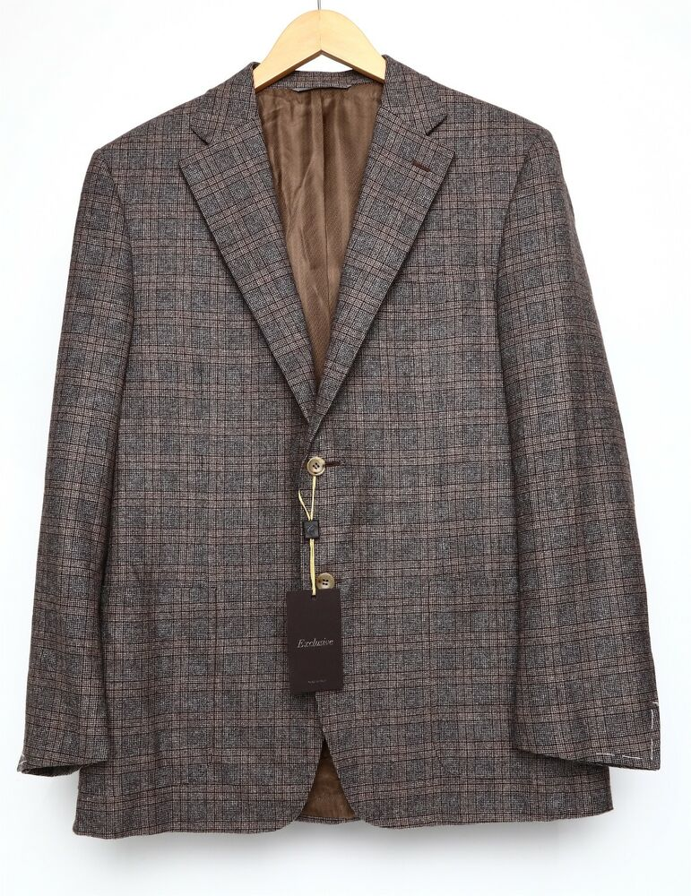 64b22106f0d Details about CANALI Exclusive Mens Classic Fit Check Two Button Sport Coat  Brown Sz 52R 1000