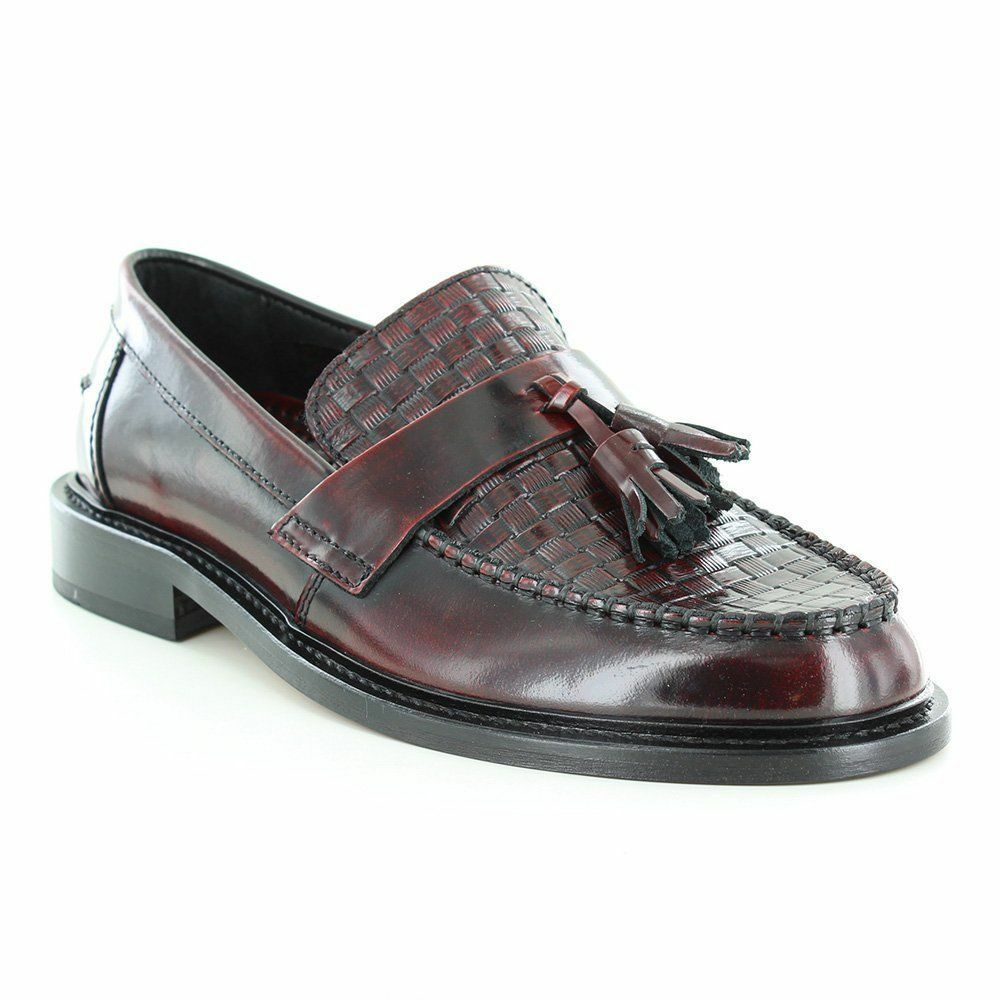 b75c8ce1ba64b Mens Shoes Oxblood Tassel Weaver Loafers by IKON | eBay