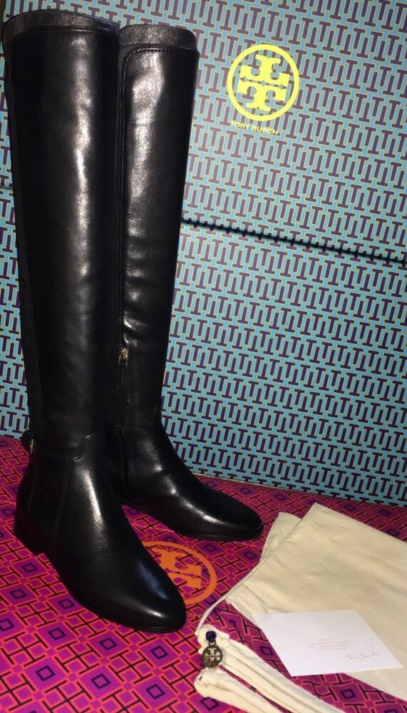 Tory Burch Wyatt Leather Riding Boot Flat Boots Over The Knee 6 5 7 5 8 9 Ebay