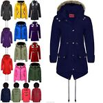 Womens Ladies Parka Military Coat Long Fishtail Faux Fur Trench Hooded Jacket