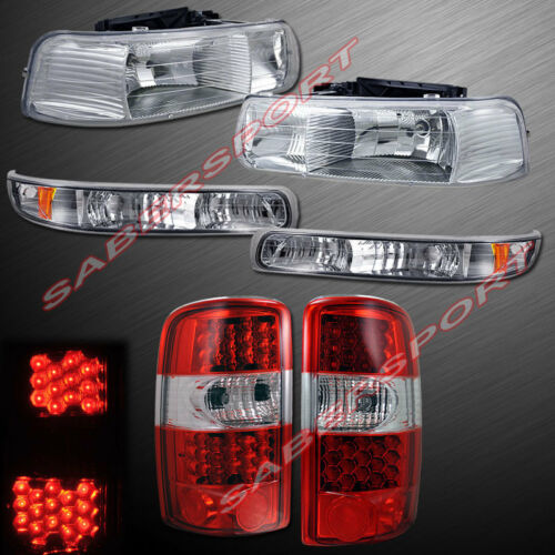 set-of-clear-headlights-w-park-signal-led-taillights-for-0006-suburban-tahoe