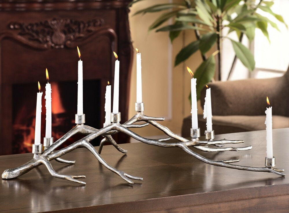 Rustic Tree Limb Branch Aluminum Centerpiece Candelabra Candle Holder Sculpture