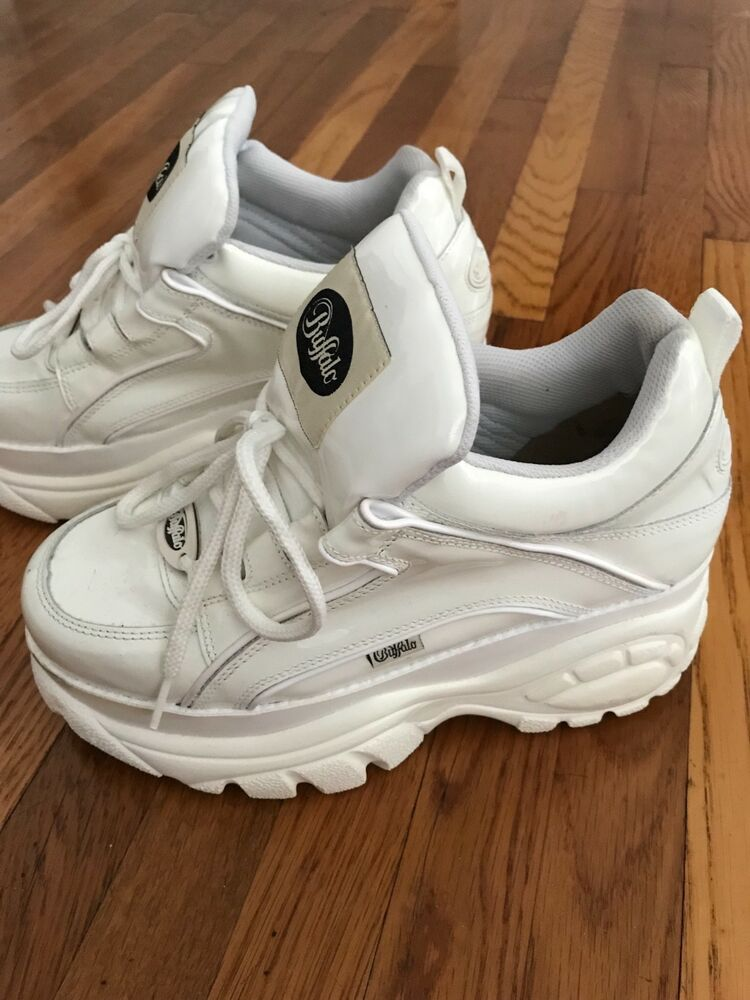 0f1dbba66e3 Iconic 90s White Buffalo Platform Chunky Sneakers Boots Size 10 with box