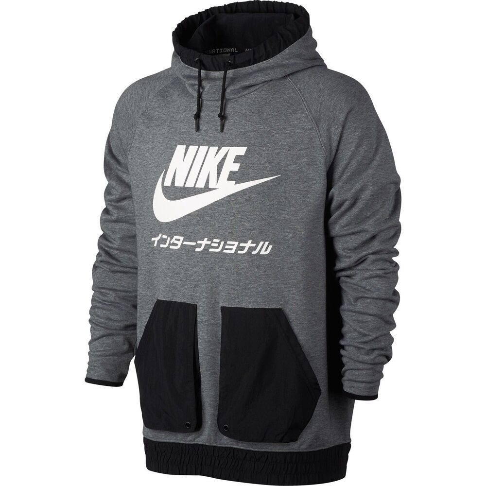 3aadd2a7fd62 Details about Men s NIKE International Pull Over Hoodie Grey Black White  Japan 831132 091