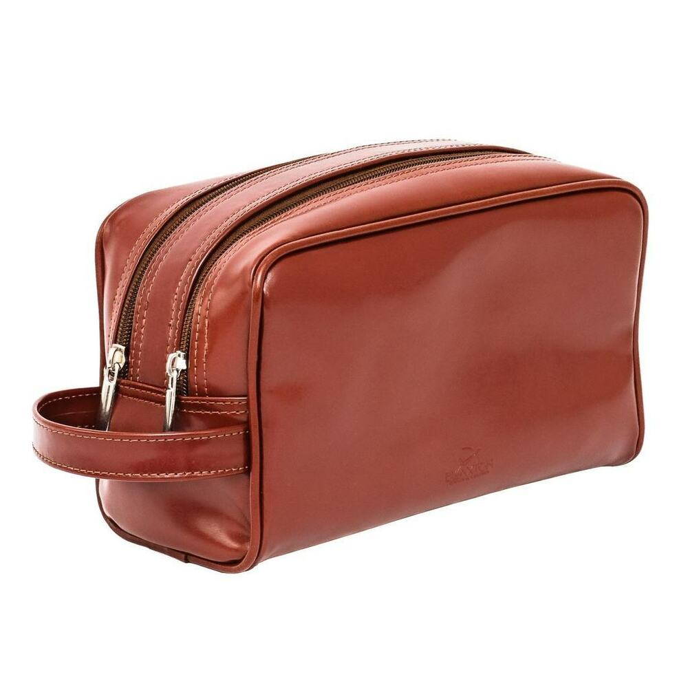 0487d66b9059 Real Leather Toiletry Bag Wash Shower Shaving Cosmetics Men Case Genuine  Cowhide | eBay