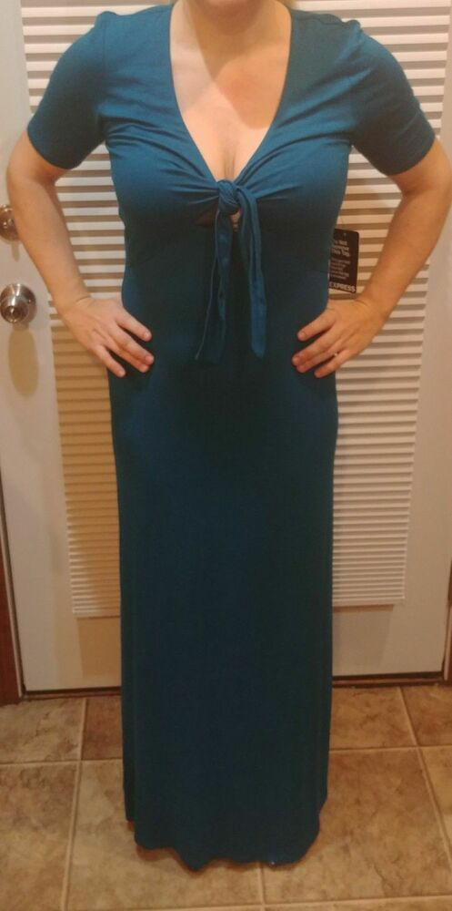 9bf5157c204 Details about NWT Express Small Keyhole Teal Maxi Long Stretch Dress size  MEDIUM