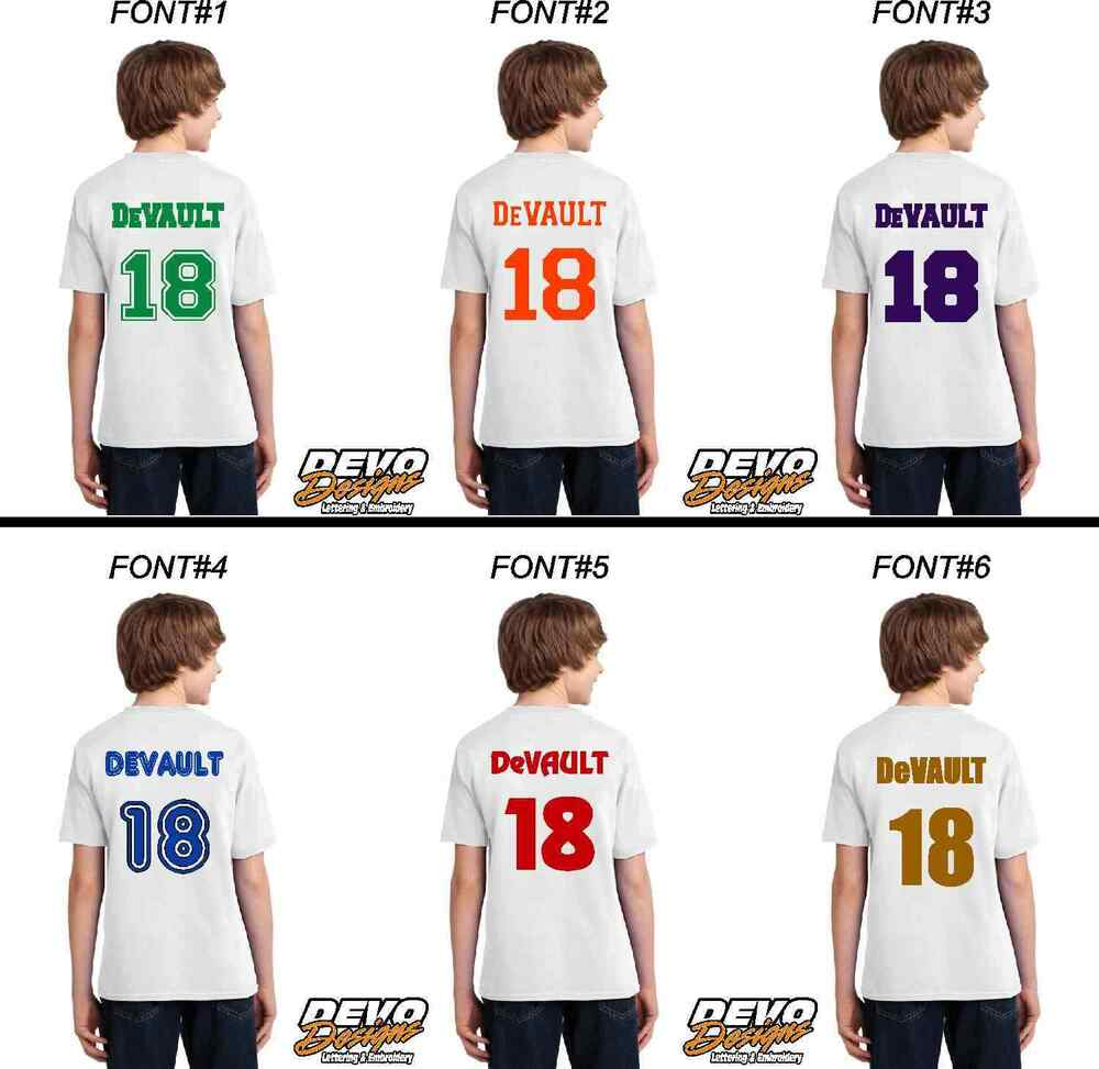 Baseball Jersey Name Number Custom Youth Size Iron On Heat Transfer