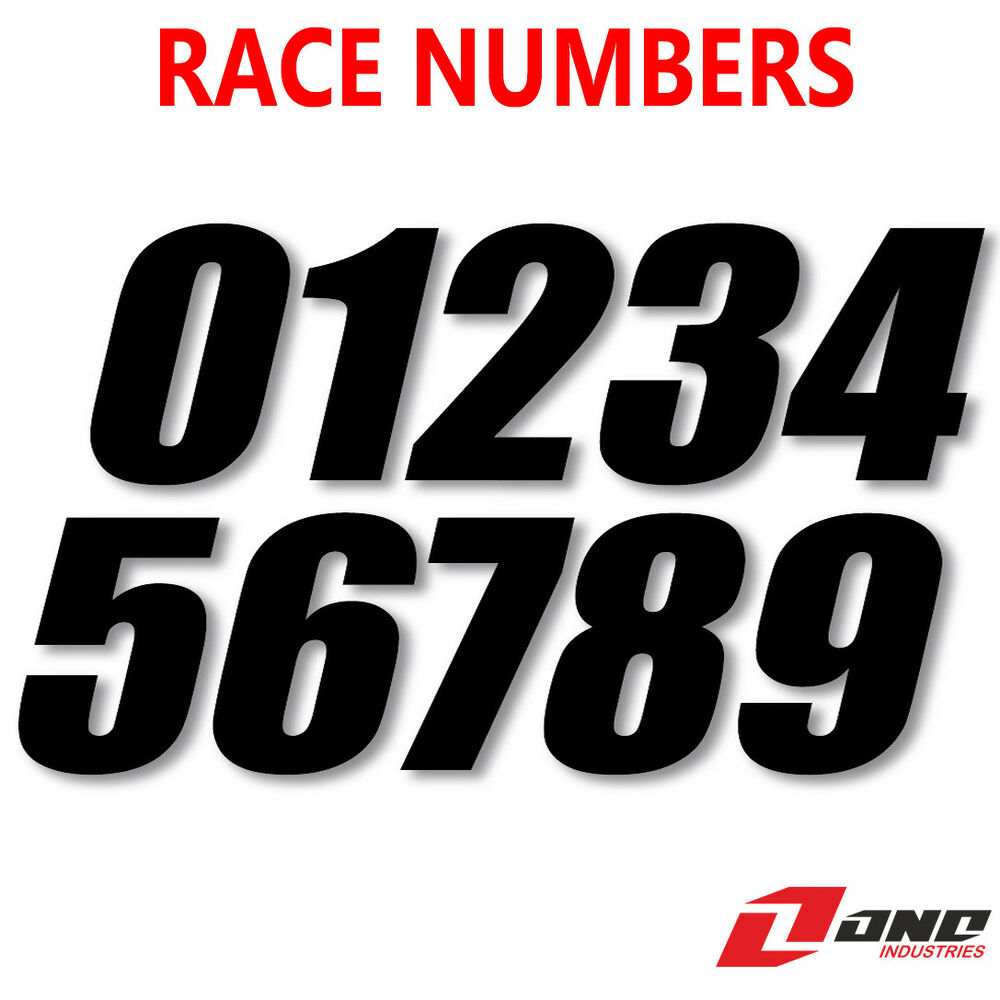 Details about one industries motocross race bike numbers sx style black 4 6 7 pack of 3