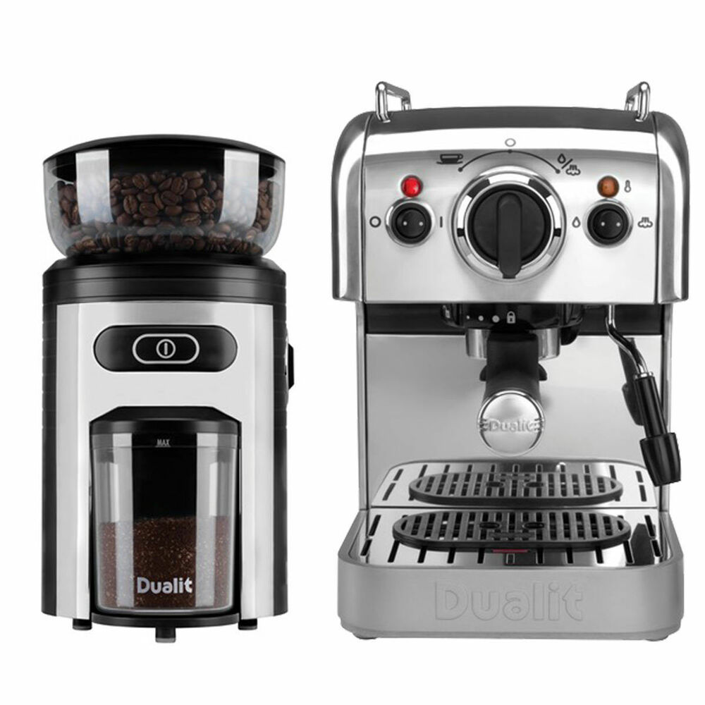 dualit dcm2x coffee machine and coffee grinder set ebay. Black Bedroom Furniture Sets. Home Design Ideas