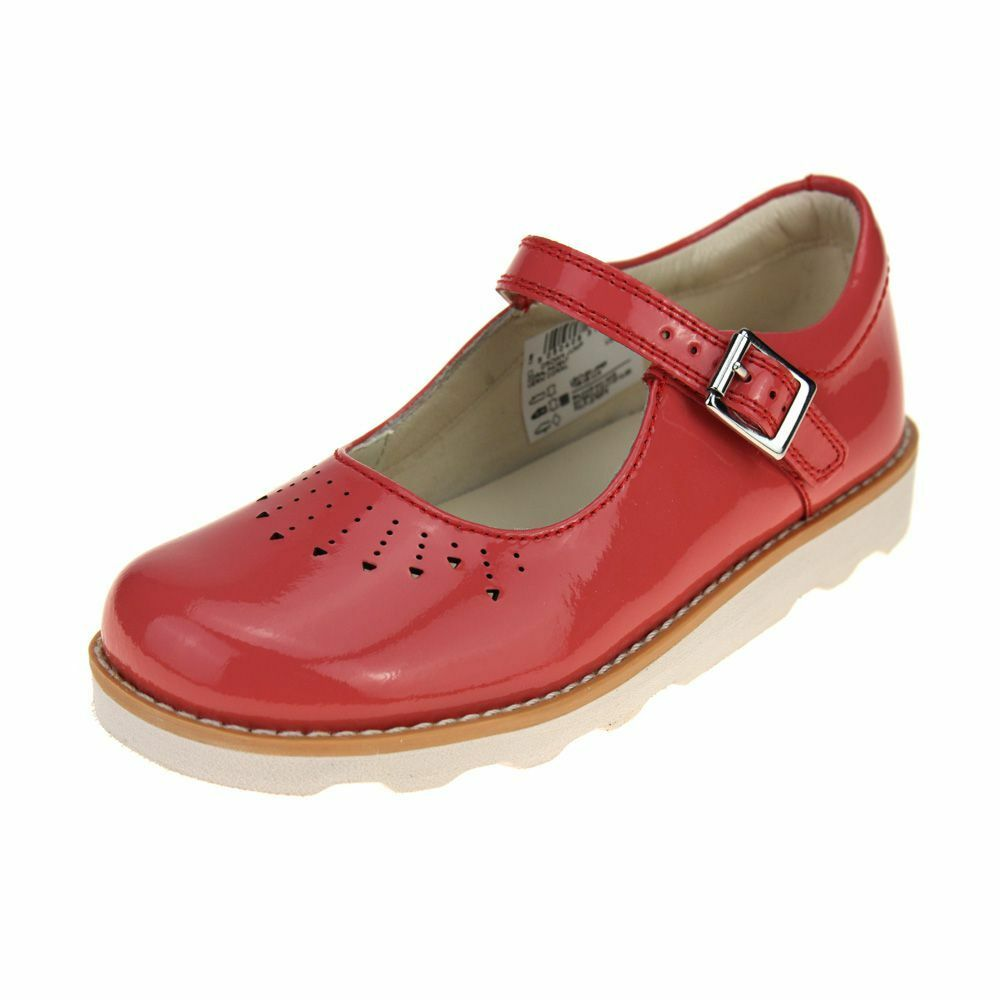 cf02ced669aa4a Details about Clarks Crown Jump Girls Coral Patent Shoe