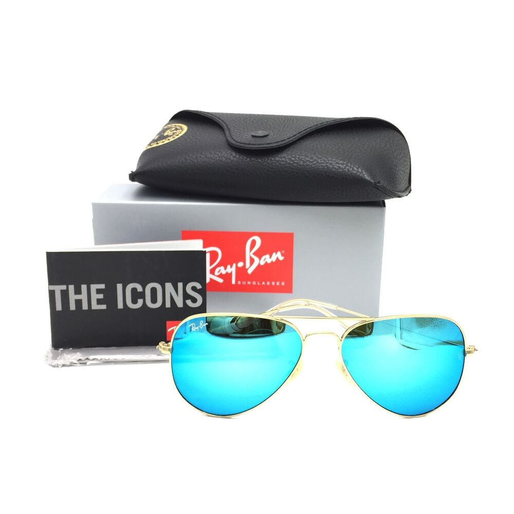 133575ad69 Details about New Ray-Ban RB3025 112 17 Gold Aviator Sunglasses w  Mirrored  Blue Lenses 58mm
