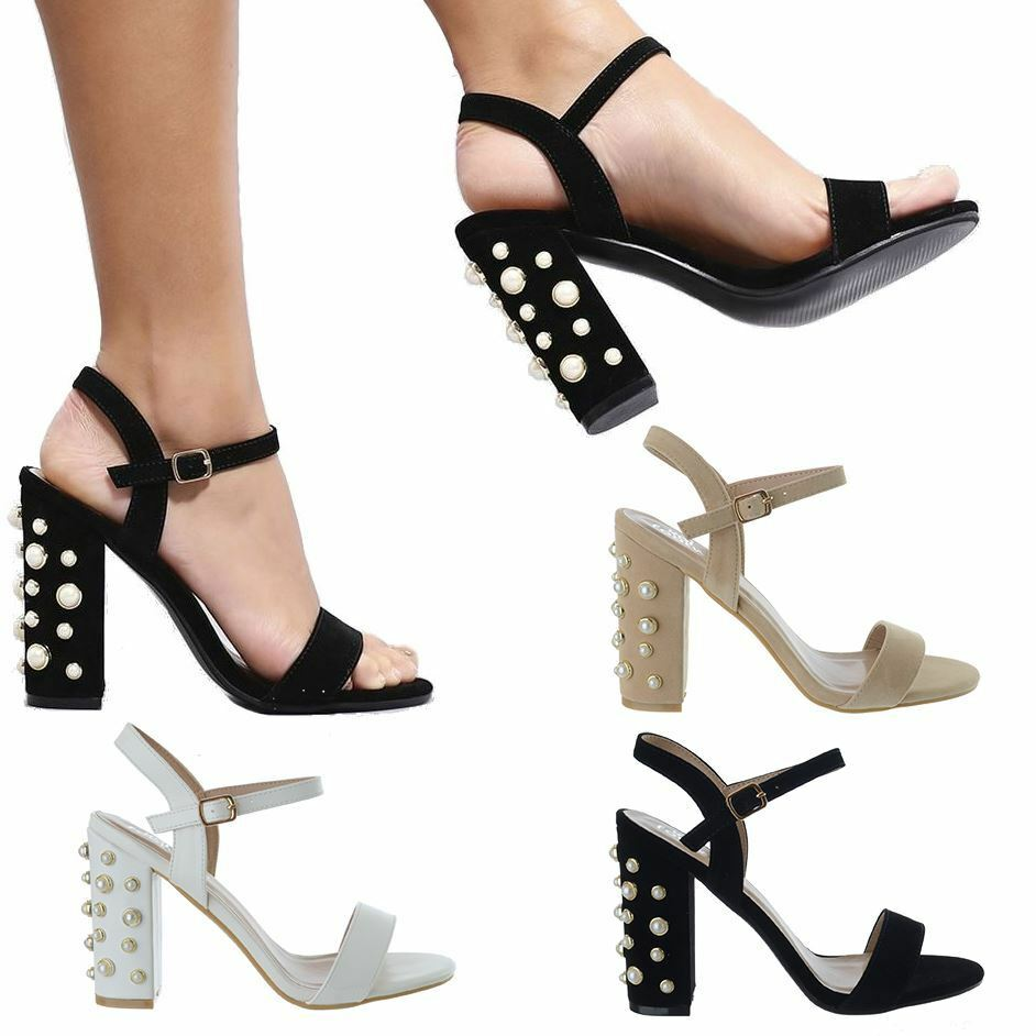 Details about Womens Ankle Strap Pearl Block Heel Sandals Ladies Strappy  Buckle Party Shoes