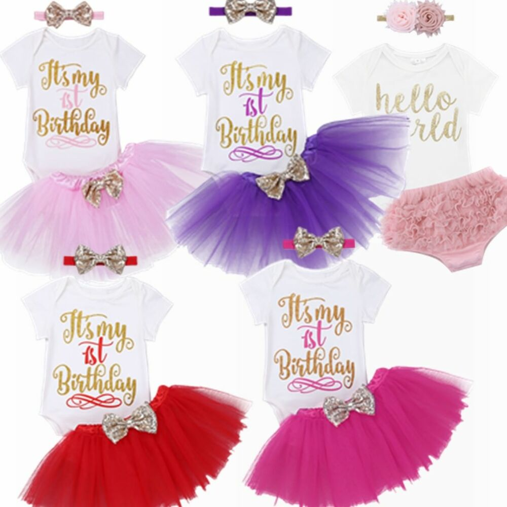 a5445a64f It s My 1st Birthday Girl Dress 1 Year Baby Outfit Romper Skirt ...