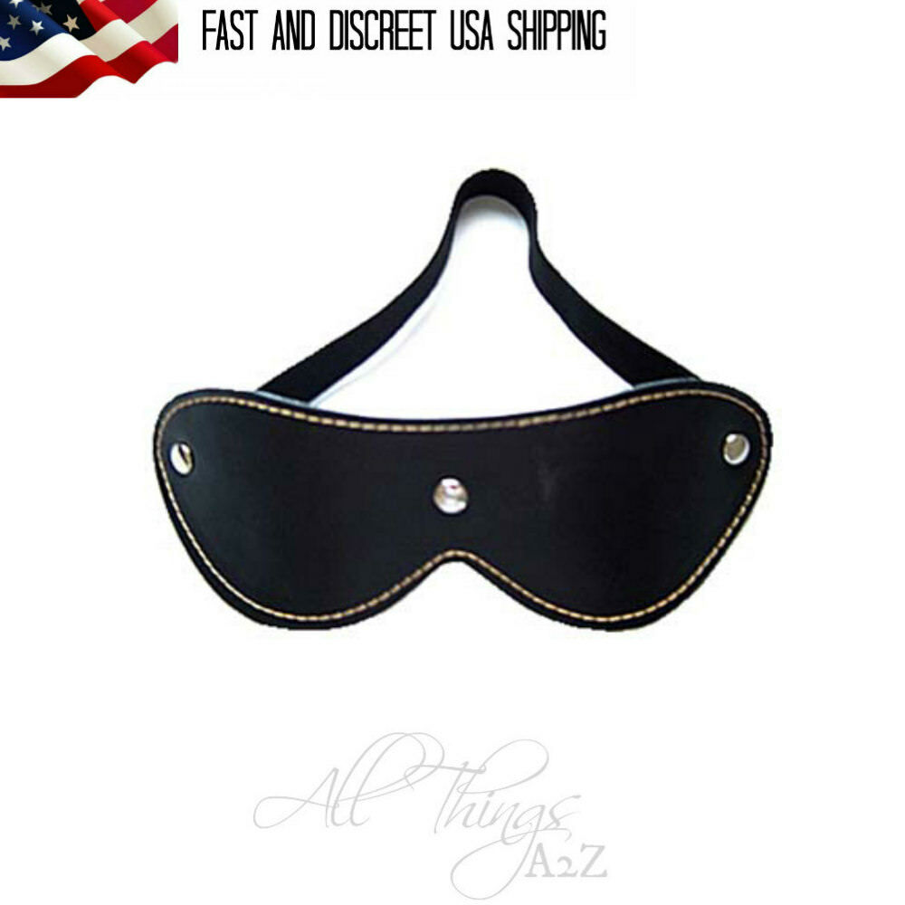 Details about Blindfold PU Leather BDSM Mask Restraint Black Eye Cover  Sensory Deprivation