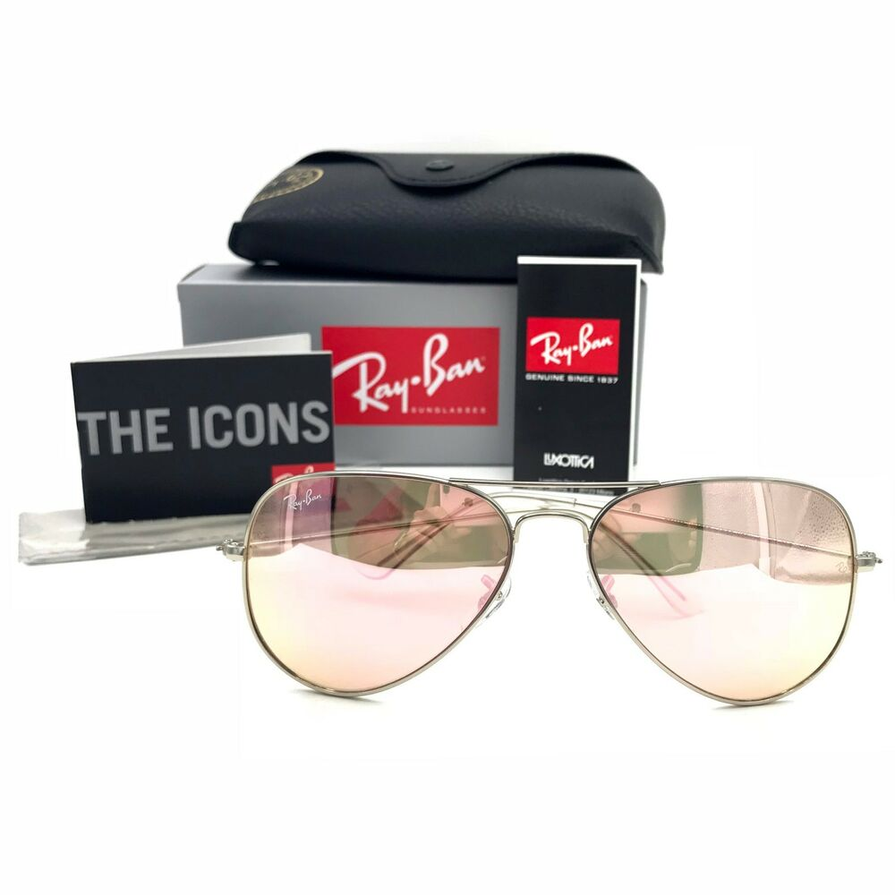 729f659bc Details about New Ray-Ban RB3025 019/Z2 Silver Aviator Sunglasses  w/Mirrored Pink Lenses 58mm