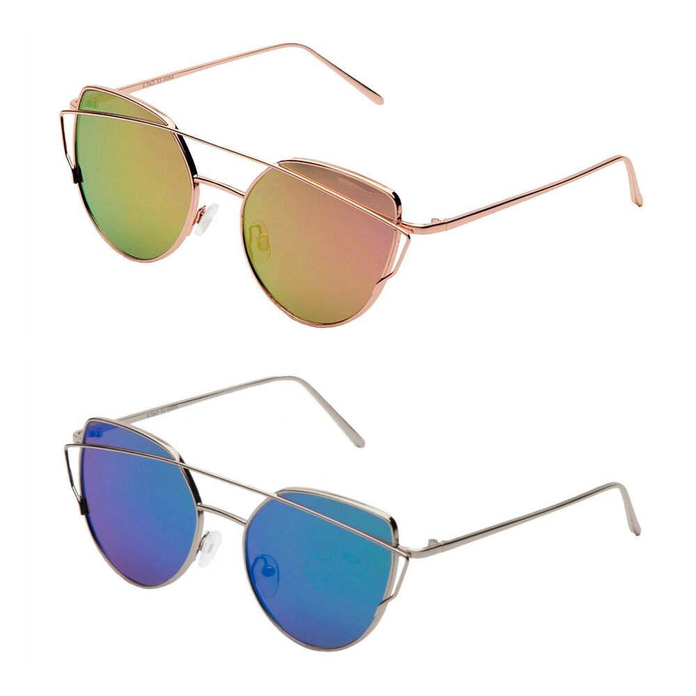 9426dac410 Details about Retro 90s Style Metal Cats Eye Sunglasses Rose Gold Frame Reflective  Mirrored Ni