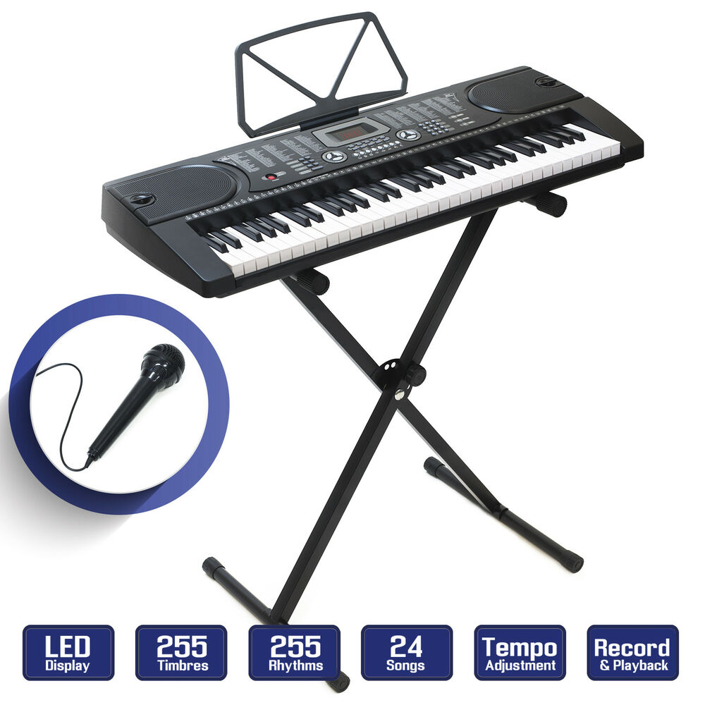 digital music piano keyboard portable electronic instrument w stand 61 key ebay. Black Bedroom Furniture Sets. Home Design Ideas