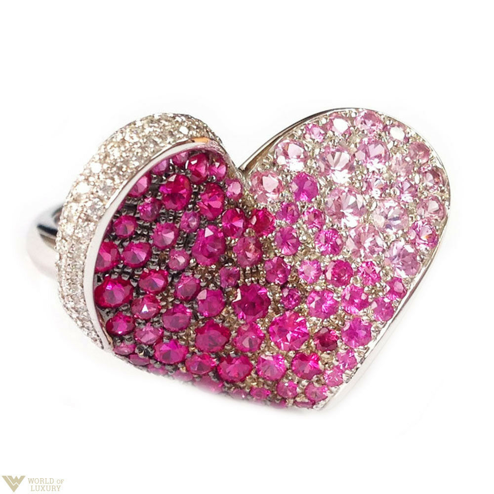 Chopard White Gold Pink Sapphire Ruby Diamond Heart Ladies Ring MSRP ...