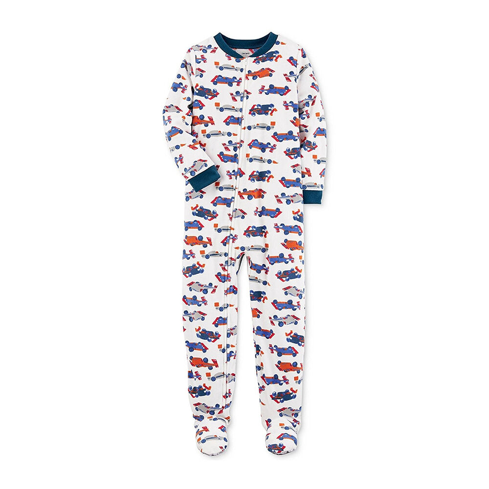 b3f0f110c Carter s White One Piece Micro Fleece Footed Pajama Baby Boys - Race ...