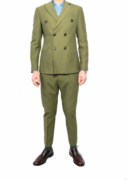 (+)PEOPLE completo uomo verde lana doppiopetto mod ARISTOTELE MADE IN ITALY