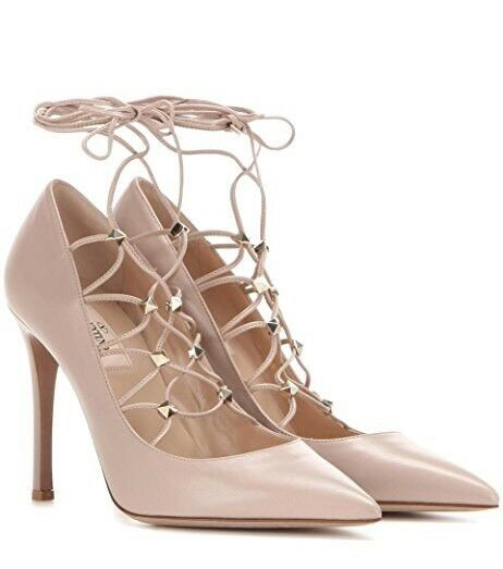 3357e7cc45 Details about New Valentino Rockstud Gladiator Lace-Up 100mm Poudre Leather Pumps  38/8 $995.00