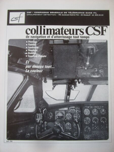 9/1968 PUB CSF COLLIMATEUR NAVIGATION ATTERRISSAGE ORIGINAL FRENCH AD